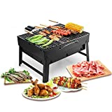 UTEN Barbacoa Portátil de Acero Inoxidable BBQ de Carbón con Rejilla Portátil Plegable Mini Barbecue de Exteriores (3 - 5 Personas)