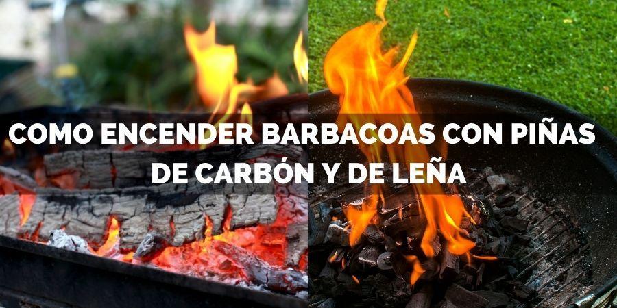encender barbacoa de carbon y leña con piñas